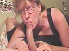 Slut Milf in glasses amateur deepthroat blowjob