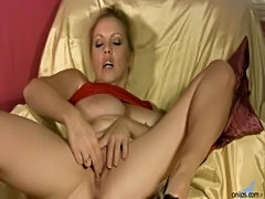 Busty milf in lingerie rubbing for orgasm  free