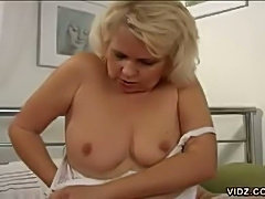 Mature blonde whore is horny all the time
