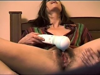 beautiful girl with very hairy pussy has close up creamy orgasm