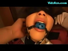 Blindfolded girl bondaged getting vibrator to pussy on the a free