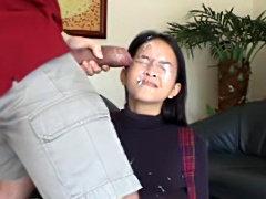 Cute Asian pornstar Fara taking a huge cum facial from big black dong