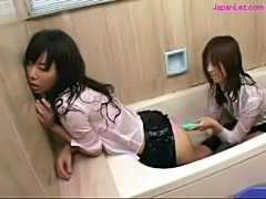 2 schoolgirls in uniforms jelly on clothes rubbing pussies w free