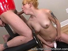 Femdom handjob on bound slave
