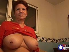 Big titted mature American redhead.