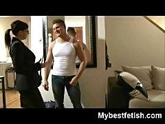 Mistress Tiffany Preston making a guy jerk off in is own nylon