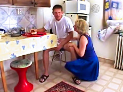 Granny fucked after cooking in the kitchen