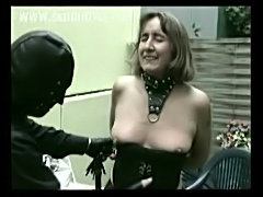Horny older slave show tits and got clamps with weight on he free