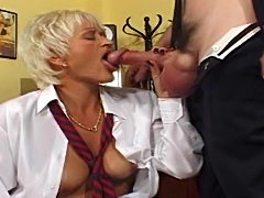 Secretary gives up her pussy to the boss