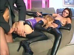 Threeway in latex lingerie  free