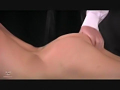 Hot blonde gets spanked then she blows