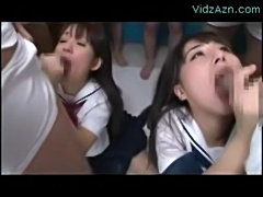 2 schoolgirls on their knees kissing sucking cocks getting m free