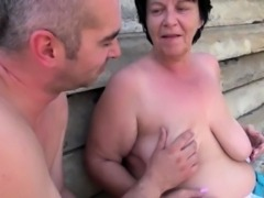 Curvy mature wife sucking and fucking a young cock outside