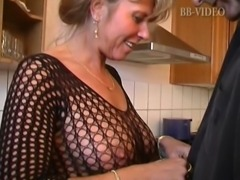 Hot german mom in fishnets makes him cum in in the kitchen free
