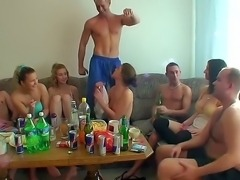 Hardcore college orgy with the horny