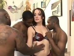 Lusty Marley Blaze double pounded with big black dicks