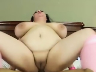 Chubby chick with giant tits