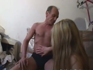 Old fart talks this hottie into having sex with her