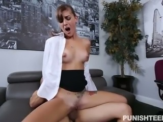Majestic college girl works as a secretary and has her first task