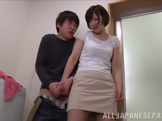 Beautiful busty milf Mizuno Asahi gives cock a deepthroat blowjob