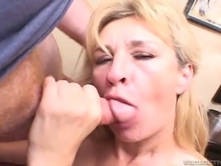Blonde cougar fed with dick and creampied in her old cunt