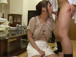 Cocks fill the cunt of sweet looking Japanese girl Yui Oba