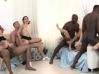 Interracial orgy session with ravishing sluts