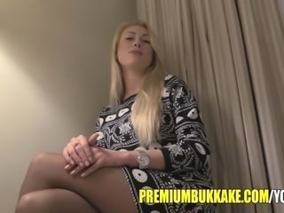PremiumBukkake - gorgeous blonde Monro greedly swallows mouthful of cum