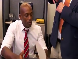 Interracial boss fucks hunk in office toilet