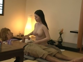 Breath-taking Japanese beauty sucking juicy cock thirstily