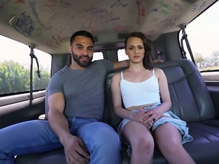 Cute hot shorty Alex More flashes her pussy before blowing long big cock in car
