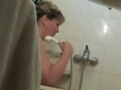 Spy cam in bathroom caught my wife's hot hefty mom bathing