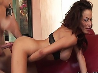 Layla drinks huge jizz load after riding