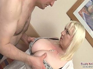 Mature BBW Jo Juggs gets her big tits sucked and fucked before taking a hard...