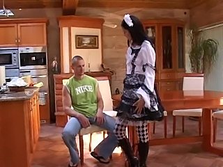 Freaky teen maid. Stylish. Creampie