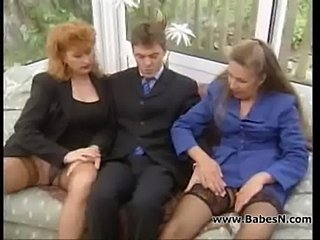 Two businesswoman fucking a businessman  free